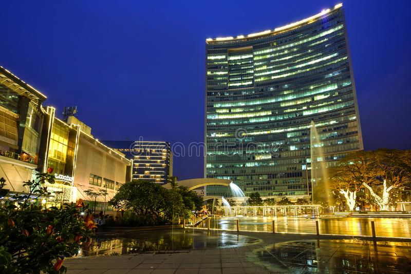 World Trade Center, Bangalore, India. World Trade Center skyscraper and Orion mall at the blue hour in Bangalore, Karnataka, India. Photo taken in 2017-09-30 royalty free stock photography