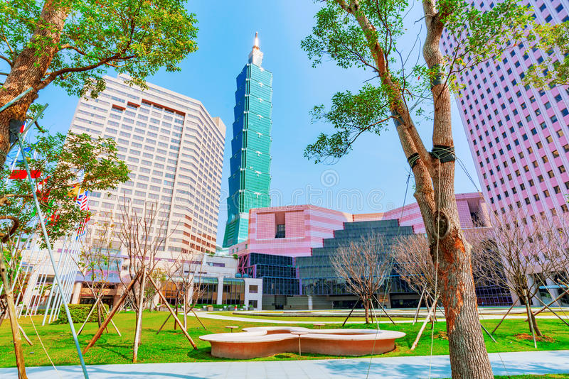 World trade center building and Taipei 101 stock photo
