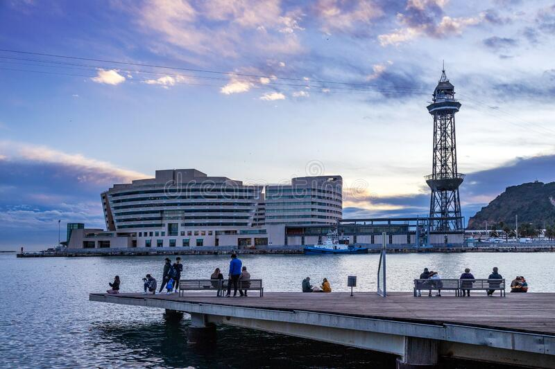 World Trade Center and cableway, Barceloneta Beach, Barcelona, Spain royalty free stock images