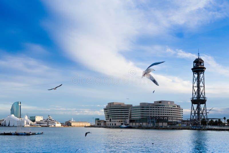 World Trade Center and cableway, Barceloneta Beach, Barcelona, Spain stock image
