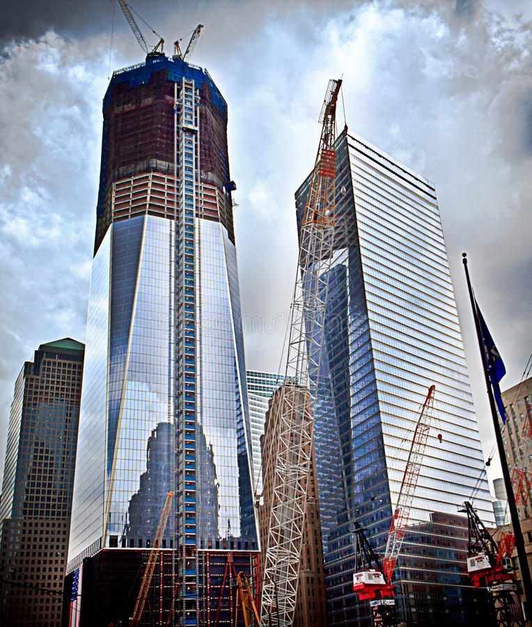World Trade Center Construction Site. One World Trade Center ( more simply known as 1 WTC, and formerly known as the Freedom Tower - ) and Two World Trade Center royalty free stock images