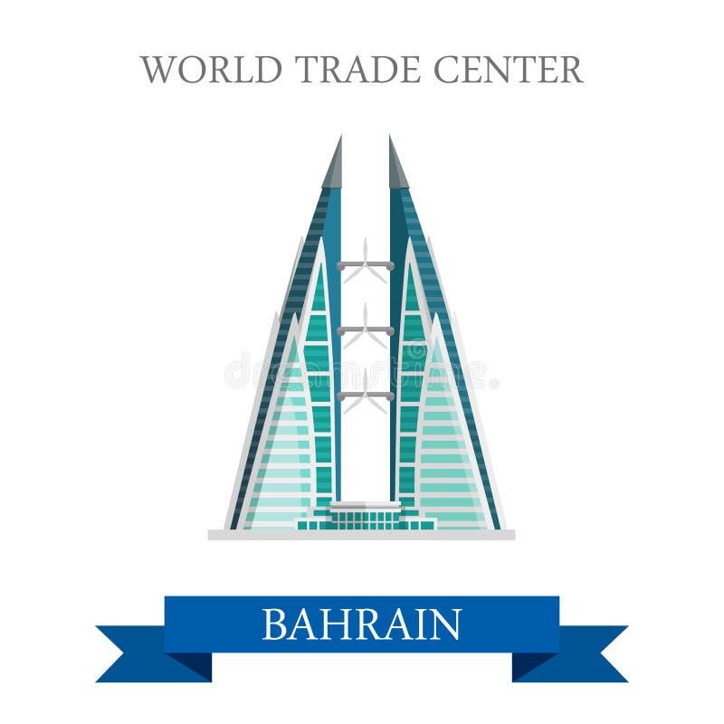 World Trade Center dans l'attraction plate de vecteur de points de repère du Bahrain illustration stock