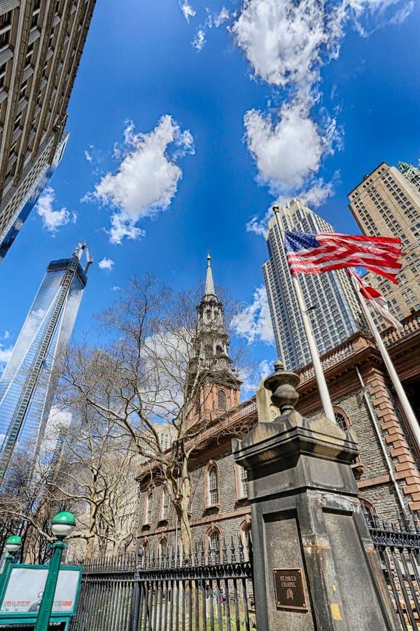 World Trade Center del St Pauls Chapel /One fotografía de archivo