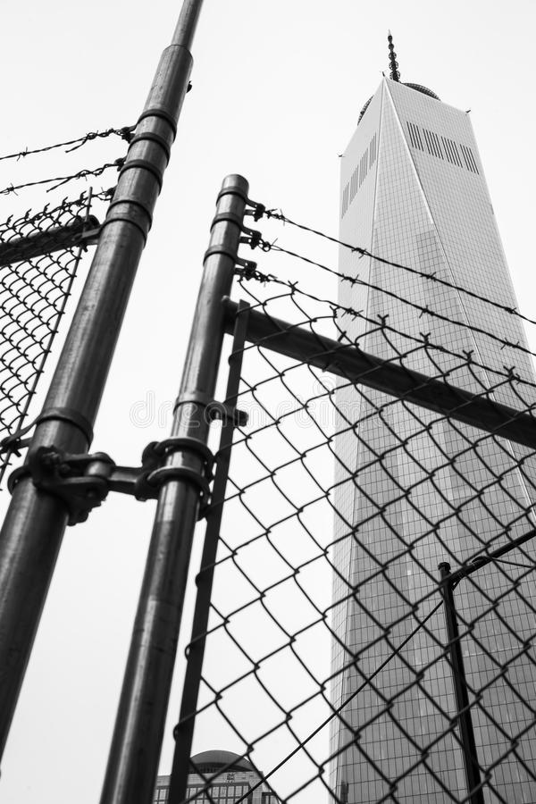 World Trade Center through the fence with barbed wire royalty free stock image