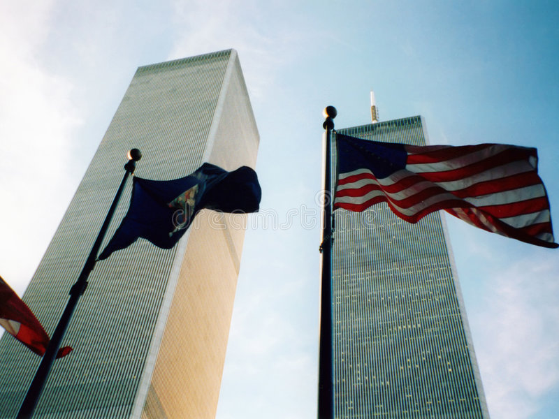 World Trade Center with flag royalty free stock photo