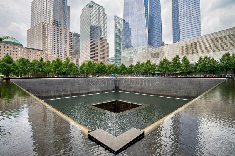 World Trade Center Ground Zero Memorial. NEW YORK CITY - JULY 13, 2017: Memorial at World Trade Center Ground Zero The memorial was dedicated on the 10th royalty free stock photography