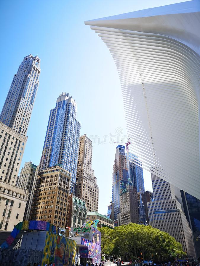 Oculus station and buildings stock image