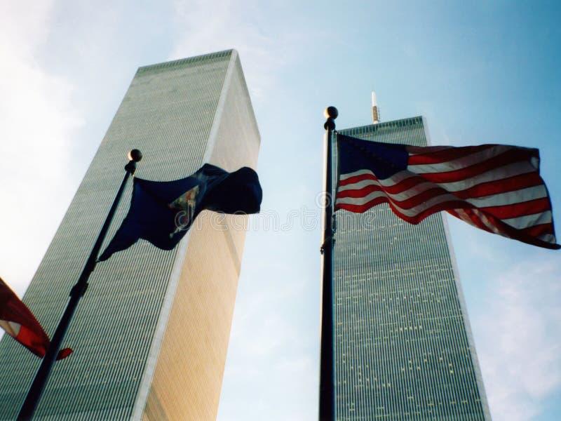 World Trade Center met vlag royalty-vrije stock foto
