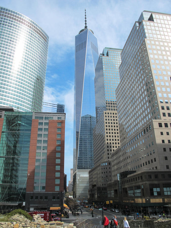 World Trade Center in New York in primavera immagine stock