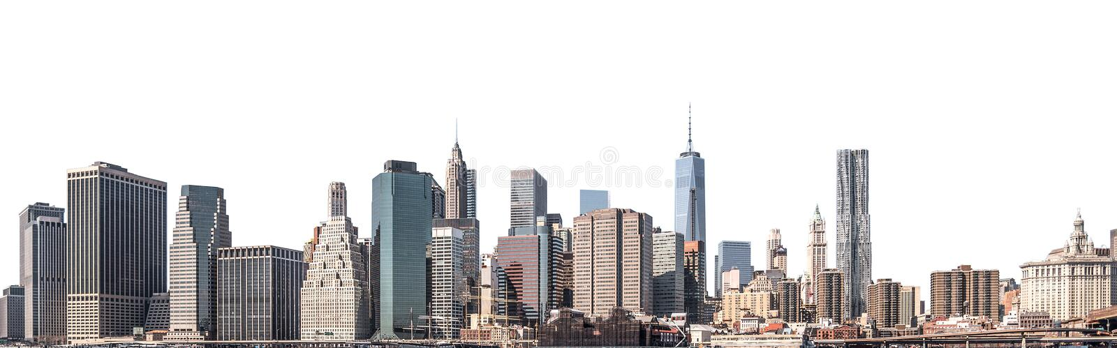 World Trade Center and skyscraper in Lower Manhattan, New York City, isolated. One World Trade Center and skyscraper, high-rise building in Lower Manhattan, New royalty free stock image