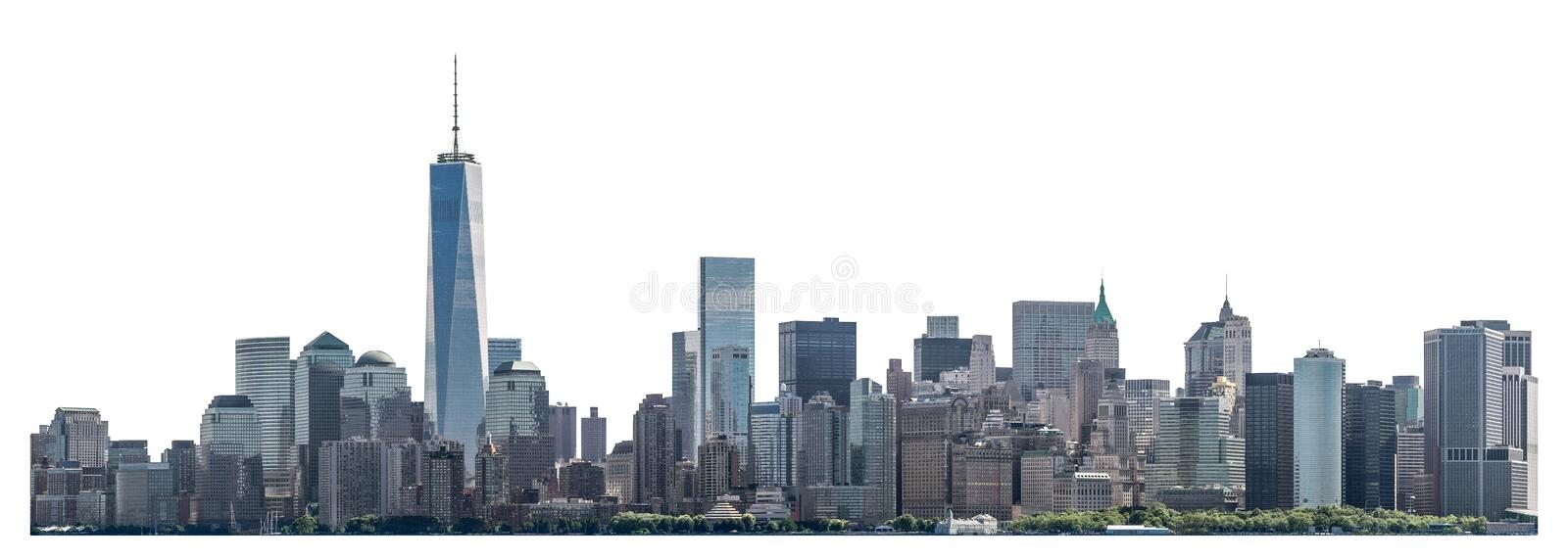 World Trade Center and skyscraper in Lower Manhattan, New York City, isolated. One World Trade Center and skyscraper, high-rise building in Lower Manhattan, New stock photos
