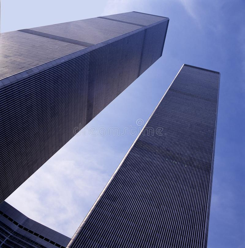 The World Trade Center Twin Towers in 1991. Seen from the entrance and looking up seen in frog perspective. NYC, USA royalty free stock photos