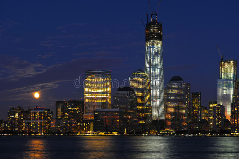 World Trade Center and World Financial Center. World Trade Center area under construction. Tower 1 being the one standing out most. World Financial Center in stock photography