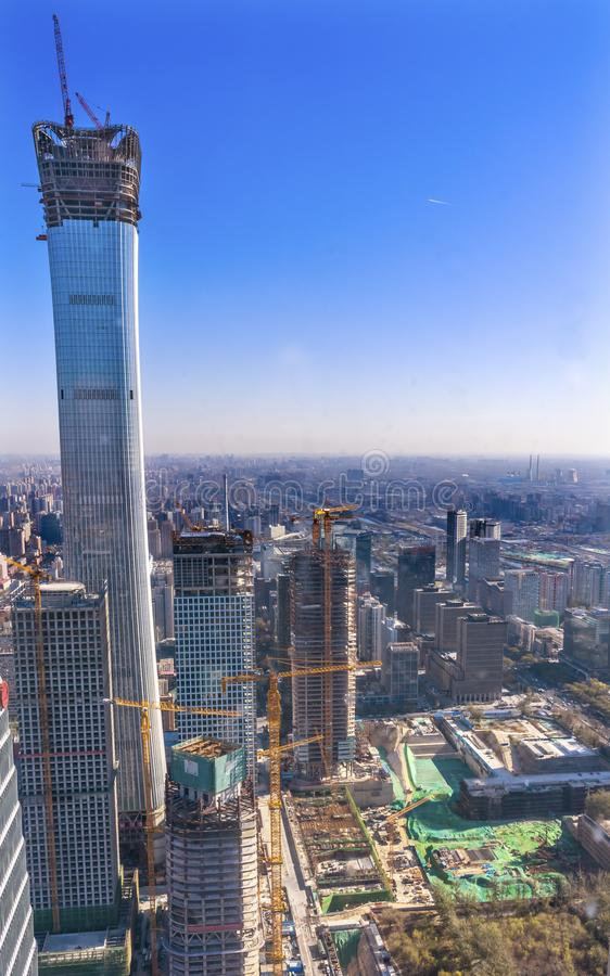 World Trade Center Z15 Skyscrapers Construction Guamao District. China World Trade Center Z15 Towers Skyscrapers New Construction Building Cranes Guamao Central royalty free stock image