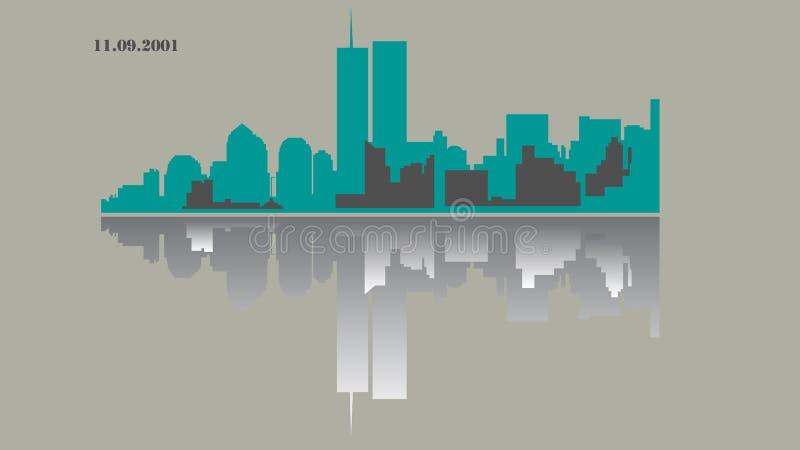 World Trade Center - Zwilling bereist - New York - Geschichte, Illustrationsstadtbild, flaches Design, Schatten, Spiegelansicht lizenzfreie abbildung