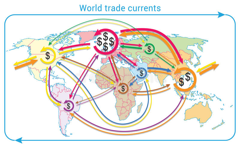 World trade currents. Movement of global finances on world map. Map is based on WTO data