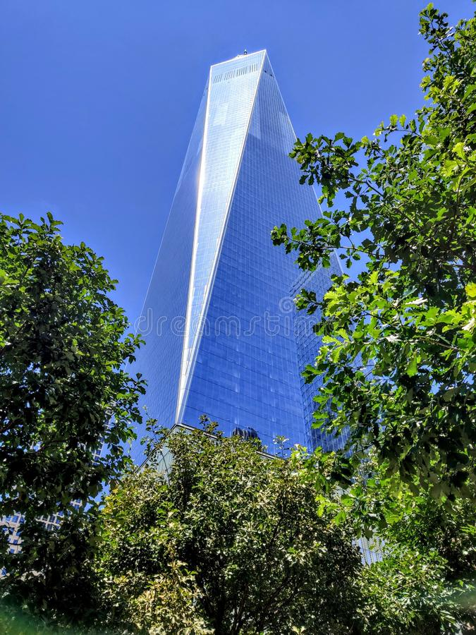 World trade one new york city from below stock photo