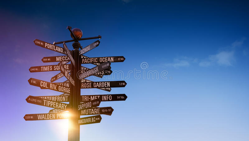 World traffic signpost with signs pointing to famous world places royalty free stock photos