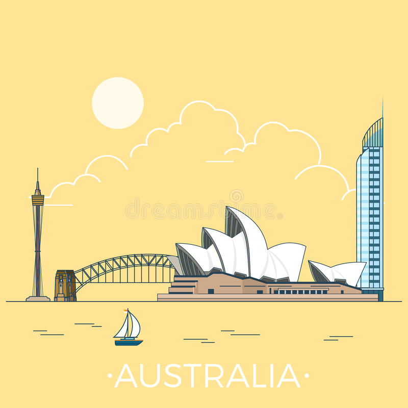 World travel in Australia Linear Flat vector desig royalty free illustration