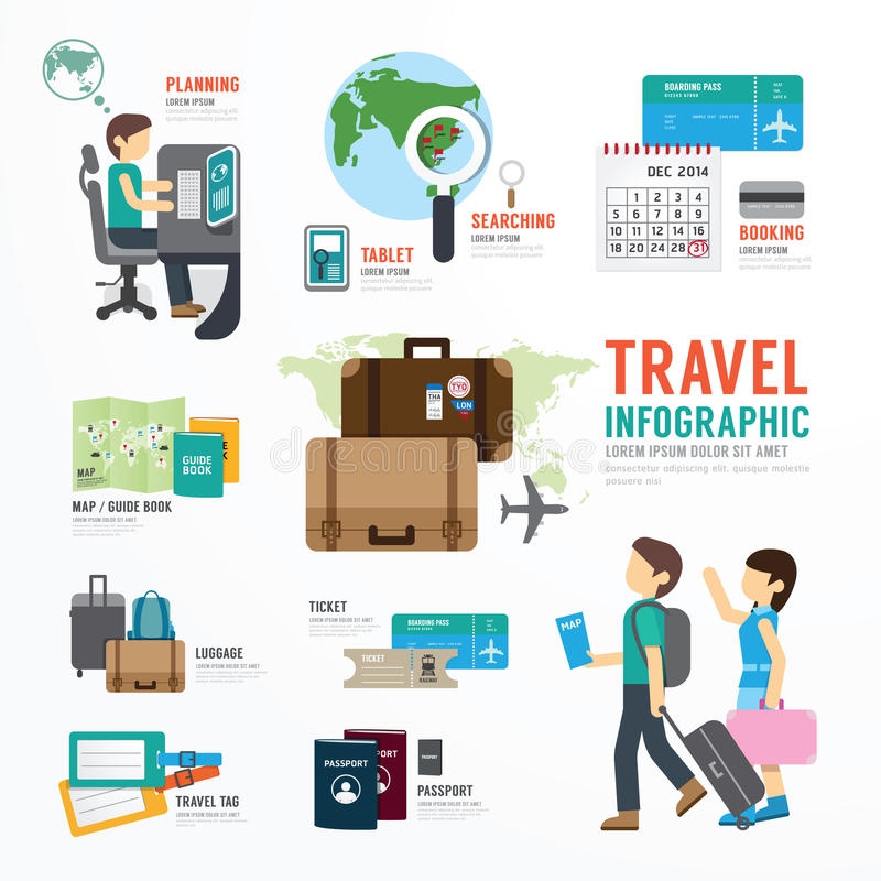 World Travel Business Template Design Infographic . stock illustration