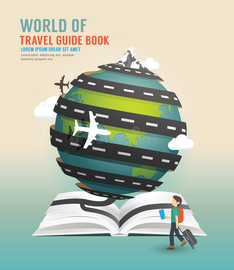 World travel design open book guide concept vector illustration. vector illustration