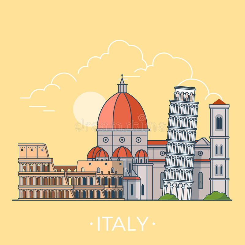 World Travel en Italia Vector plano linear t de Europa ilustración del vector
