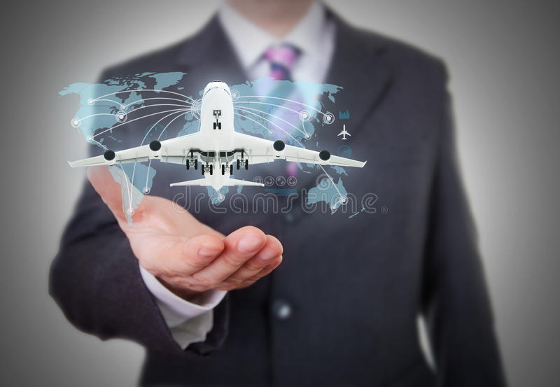 World travel futuristic hologram stock photo
