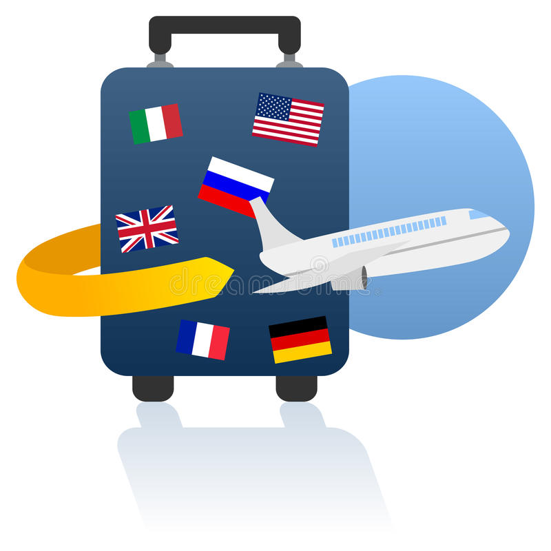 World Travel and Holiday Logo. Travel concept: world travel and holiday logo, with a trolley case and a plane, isolated on white background. Eps file available