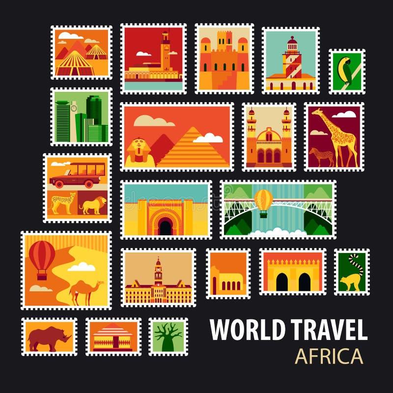 World Travel Iconos fijados ilustración del vector