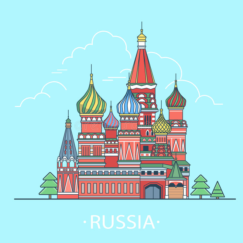 Free World Travel In Russian Federation. Linear Flat Ve Royalty Free Stock Images - 86053259