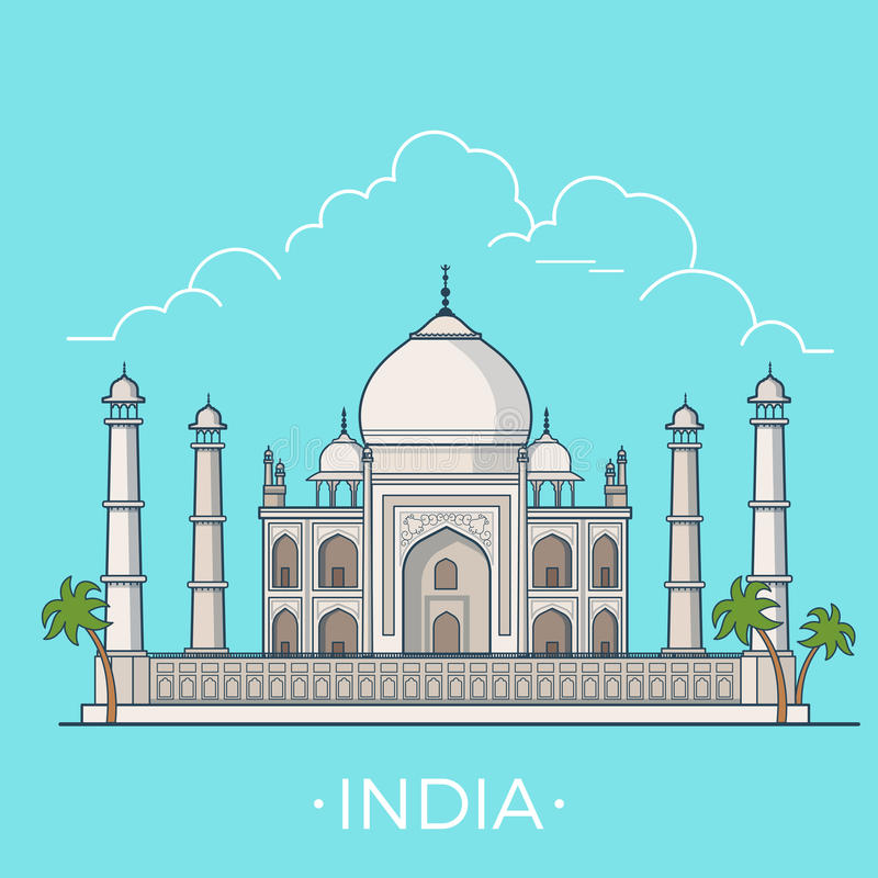 World travel in India Linear Flat vector design te. India country design template. Linear Flat famous historic sight; cartoon style web site vector illustration vector illustration
