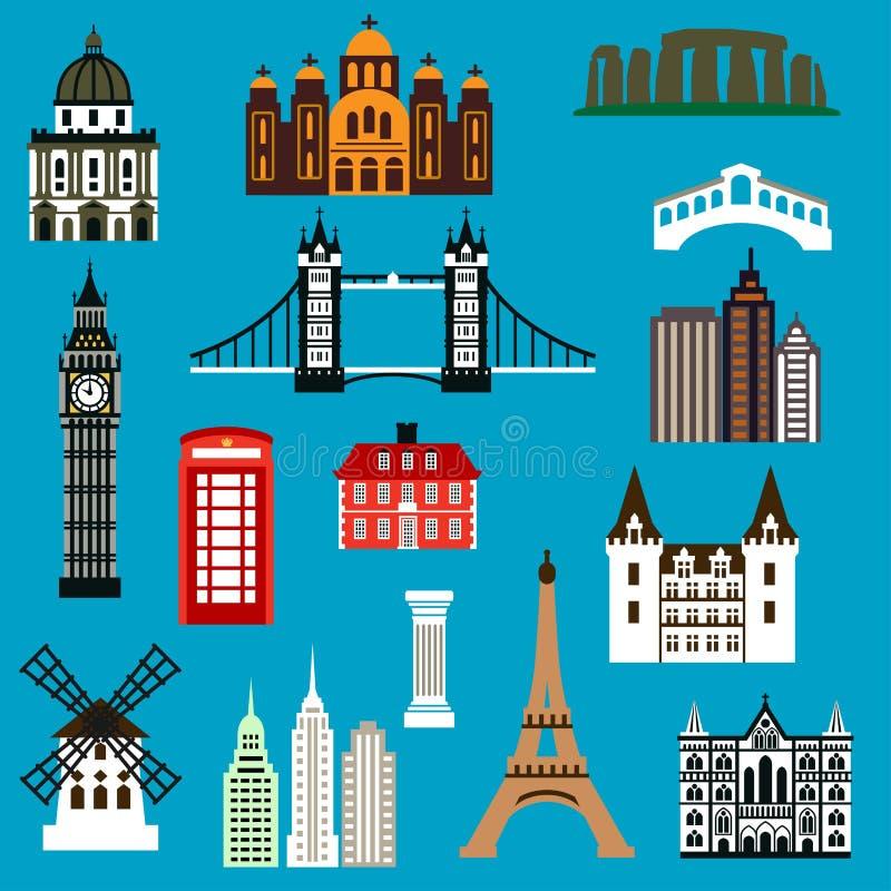 World travel landmark flat icons royalty free illustration