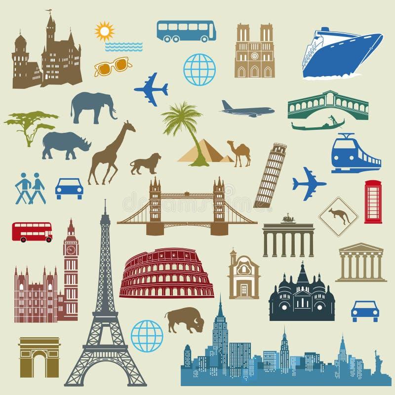 World travel and landmarks stock illustration