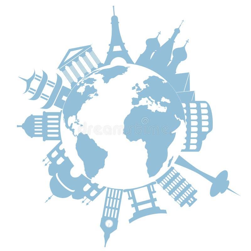 World travel landmarks and monuments. World's famous landmarks and monuments stock illustration
