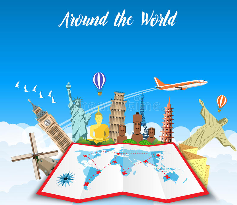 World Travel. Planning summer vacations. vector illustration
