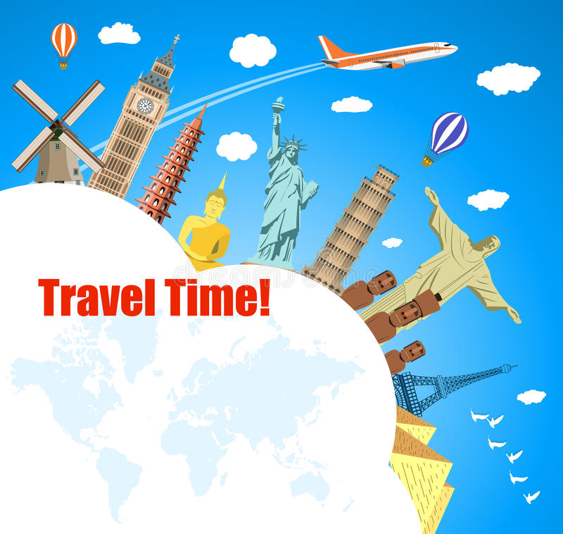 World Travel. Planning summer vacations. royalty free illustration