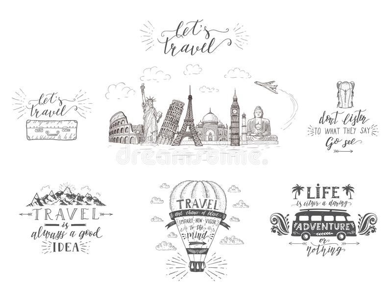 World travel , sights and transport. Set of tourism banners with hand-lettering quotes. Hand drawn sketch vector illustrations for t-shirts vector illustration