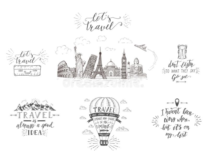 World travel , sights and transport. Set of tourism banners with hand-lettering quotes. Hand drawn sketch vector illustrations for t-shirts royalty free illustration