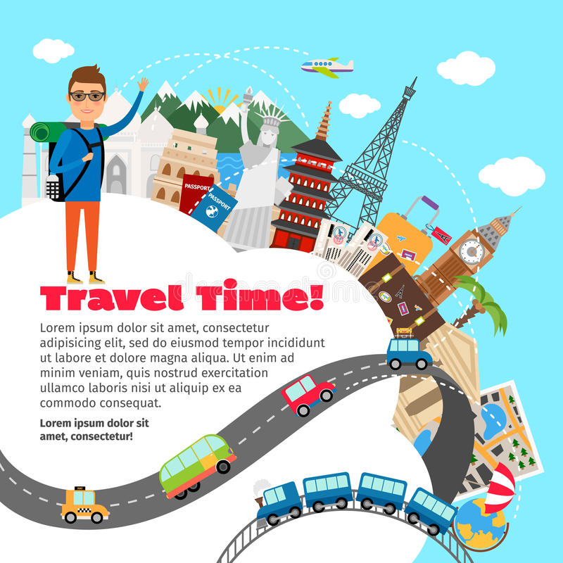 World travel and summer vacation planning royalty free illustration