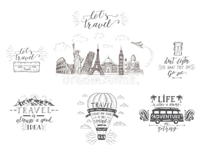 World Travel, vistas y transporte Sistema de banderas del turismo con citas de las mano-letras ilustración del vector