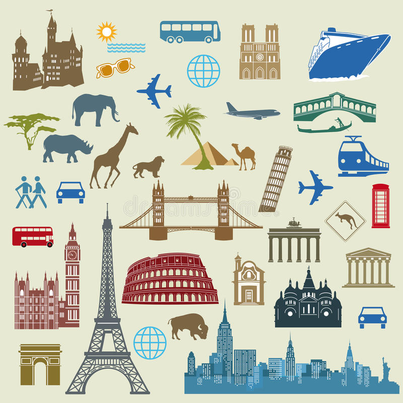 World Travel y señales stock de ilustración