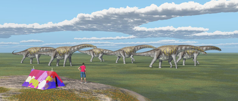 World traveler and passing dinosaurs royalty free illustration