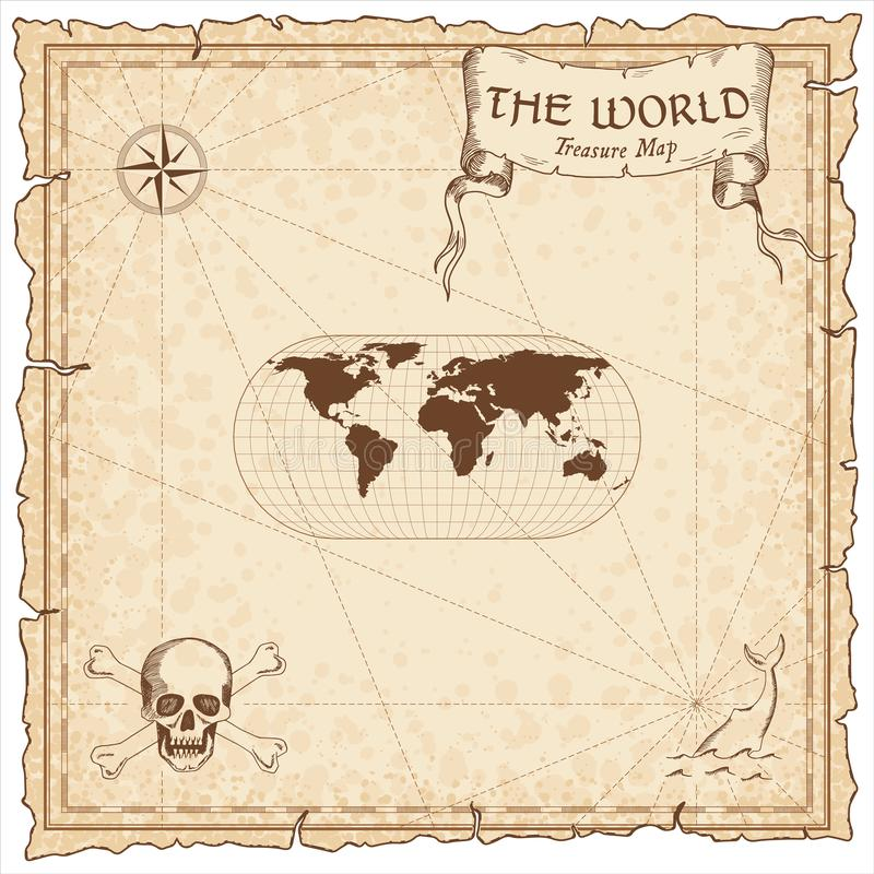 World treasure map. Pirate navigation atlas. Eckert III projection. Old map vector vector illustration