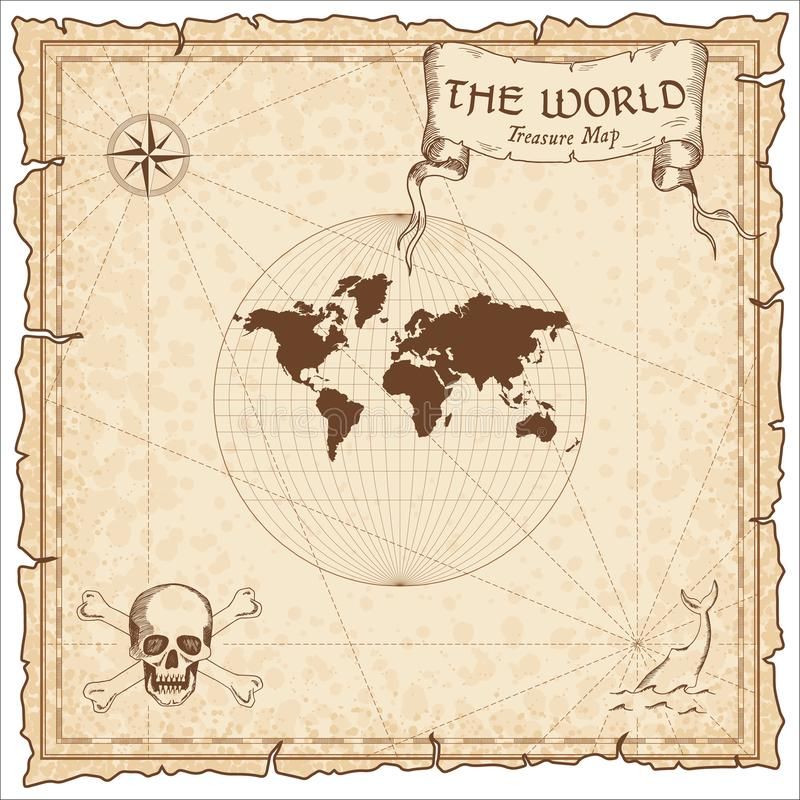 World treasure map. Pirate navigation atlas. Van der Grinten III projection. Old map vector royalty free illustration