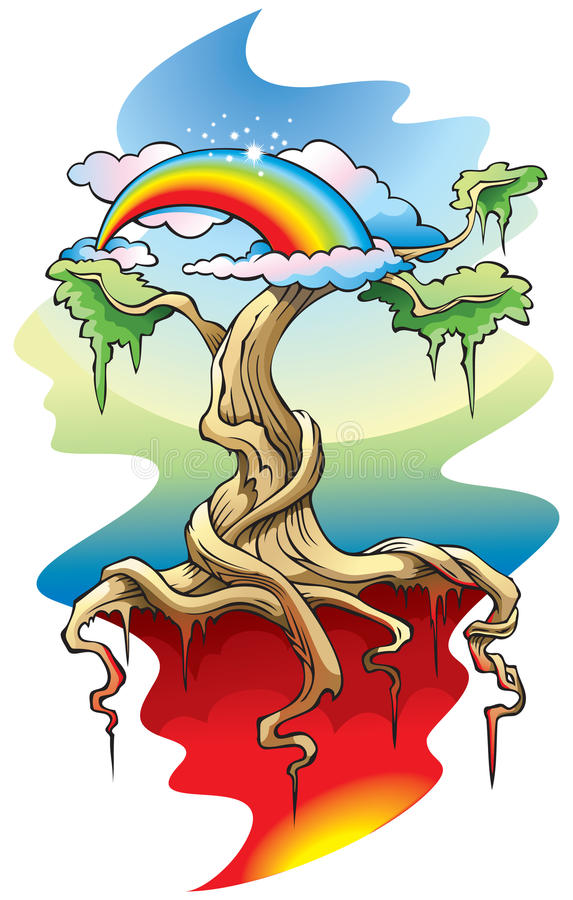 Download The World Tree stock vector. Image of rainbow, background - 13577692