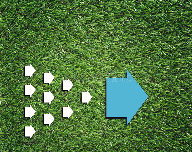 World Trends Concept Background. Business trends concept, group of white arrow follow big blue arrow stock image