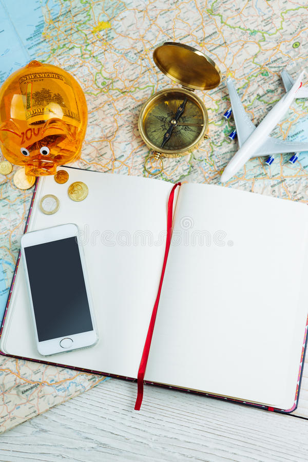 World trip planning. budget and itinerary stock photography