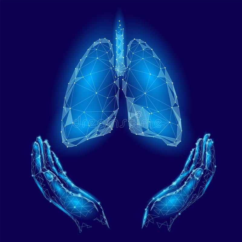 World Tuberculosis Day poster human lungs in hands blue background. TB awareness health care medicine center. Medical royalty free illustration