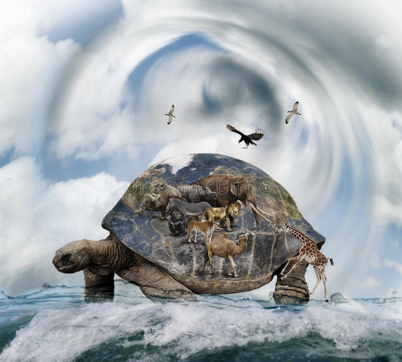World Turtle Concept stock images