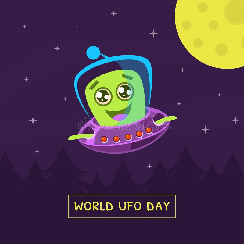 World UFO Day Banner with Cute Alien Character in Spaceship Vector Illustration vector illustration